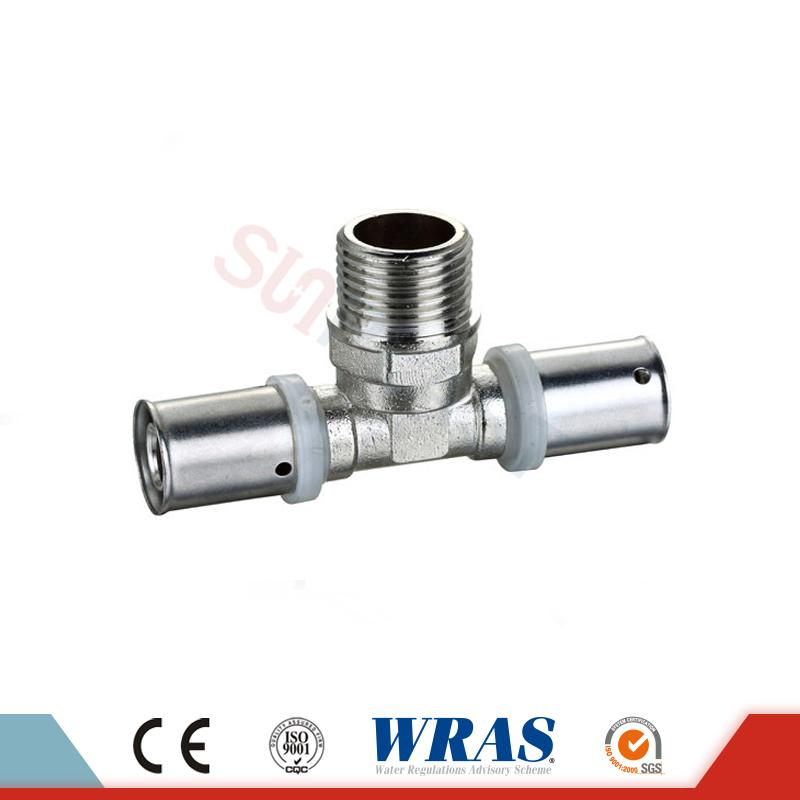 Brass Press Male Tee For PEX-AL-PEX Multilayer Pipe